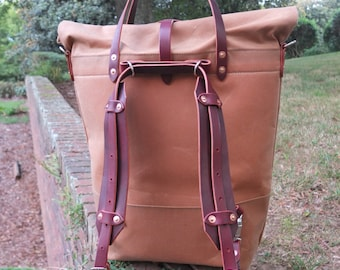 Waxed Canvas Roll Top Rucksack Backpack Option - Leather Straps/Handles/ Waxed Canvas Bag -Brush Brown Bag Perfect for Traveling