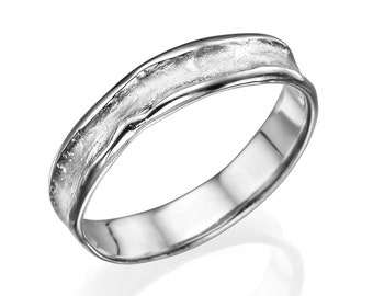 5mm Rugged Center White Gold Men's Wedding Band