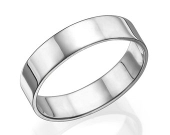 wedding bands men classic 5mm white gold shiny mens wedding band white gold wedding - Gold Wedding Rings For Men