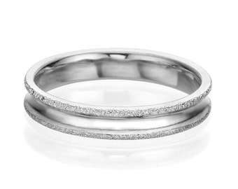 4mm White Gold Gentle Men's Wedding Band