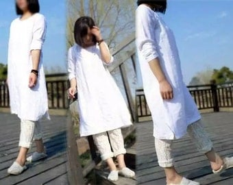 270-Linen Tunic Dress, Smock, Made to Measure.