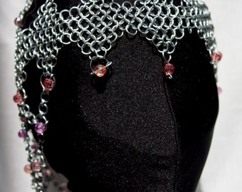 Chainmaille Beaded Headdress Long