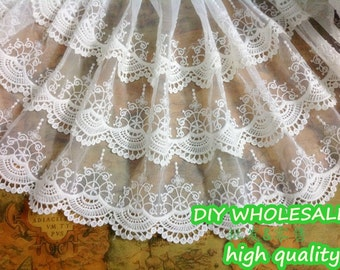 3 layers water-soluble Lace Trim Vintage mesh Lace trim floral lace trim White black Lace Trim 35cm width 1 Yard