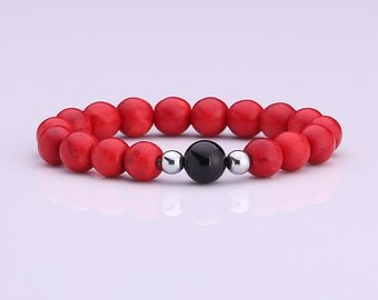 10 MM Red Coral Bead With Matt Onyx Bead Bracelet