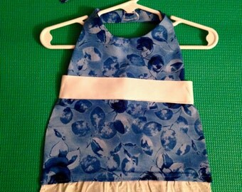 Blue Floral Dog Dress, Blue Dog Dress, Pet Dress, Blue Cotton Dog Dress,Blue and White Dog Dress,Rose Print Dog Dress,Floral Print Dog Dress