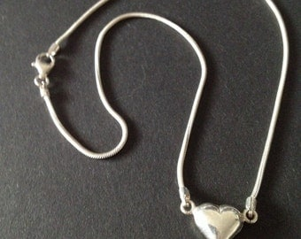 Vintage Sterling Silver Heart Necklace