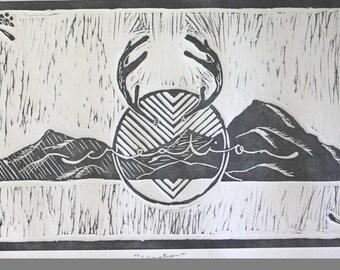 Modern Art // Linocut // Print // Creation // Mountain Print // Antlers // Wall Decor // Home Decor