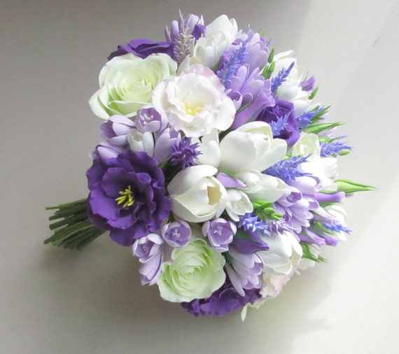 wedding bouquet purple freesien eustoma tulpe lavendel brautstrauss lila 8481