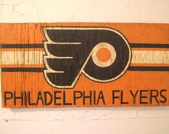 Philadelphia Flyers Sign - wooden flyers flag - wood flyers sign - wood philly sign - outdoor flyers sign - philly flag