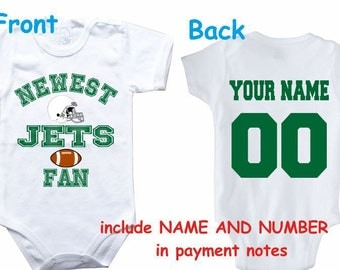 Baby bodysuit Newest fan Jets customized personalized NAME NUMBER One Piece Bodysuit Funny Baby Child boy Clothing Kid's Shower boy