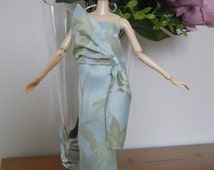 MOMOKO light turquoise evening dress/ ball dress with matched hair band by Jing's Crafts