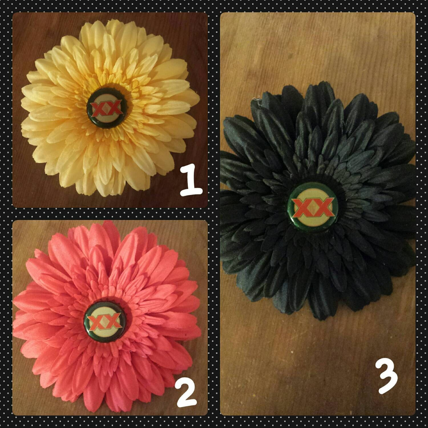 Hair clip hair flower beer bottle cap black by gingerskulls for How to make bottle cap flowers