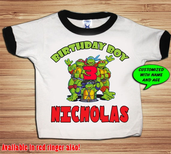 TMNT Birthday Black or Red Ringer T Shirt Personalized - Teenage Mutant Ninja Turtles