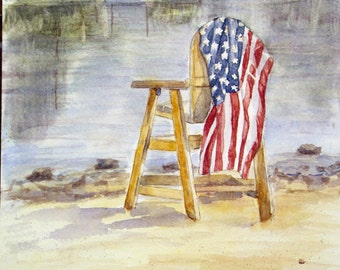"This is a print of my original watercolor painting titled "" Proud to be an American"" 5x7,8x10,11x14,16x20, wrapped canvas and note cards"
