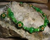 Flower Bracelet, Green Millefiori & Catseye Bracelet, Handmade Gifts for Her from The Hidden Meadow