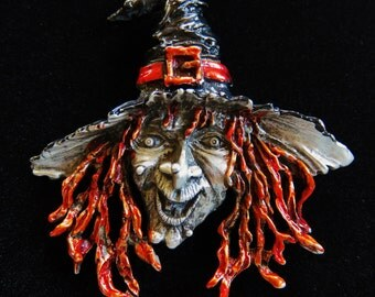Huge Extremely Rare JJ Jonette Wicked Halloween Witch With Enamel Brooch Pin