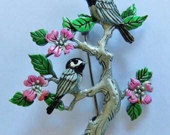 JJ Jonette Two Chickadees Visit On Dogwood Branch Brooch Pin