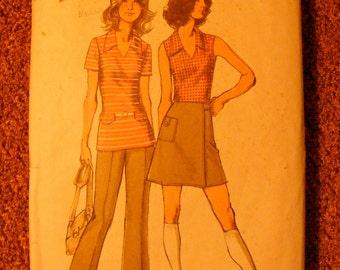 1970's Vintage Misses' Top Mini Wrap Skirt / Pants Simplicity Sewing Patten 9969 Size 14 Bust 36
