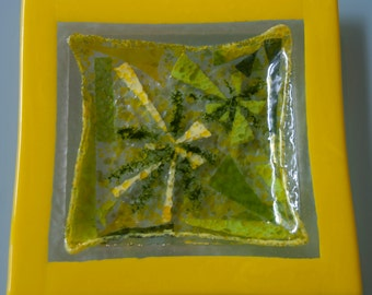 Yellow and green starburst fused glass platter