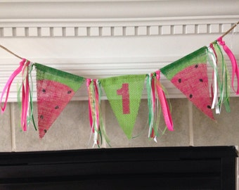 Burlap high chair banner/ watermelon banner/ sunmer photo prop/ birthday banner  FREE CARD included