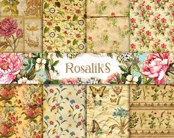 Botanical paper. Floral Digital Paper Pack, Paper Backgrounds, Vintage Paper, Scrapbooking Paper, Floral wallpaper
