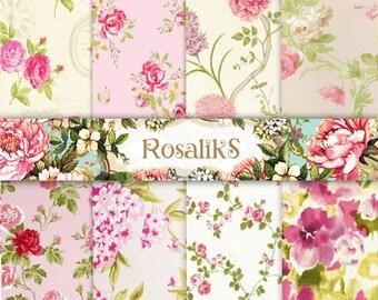 Pink Floral Paper, Floral Paper, Digital Paper Pack, Floral Pattern, Floral Wallpaper, Digital Floral Paper, Digital Paper, Shabby Paper