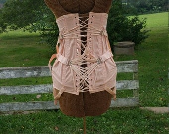 1930s Pink/Peach Corset by Camp, Back Lacing, Model 574