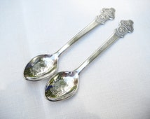 Vintage Rolex Pair Collector Spoons Bucherer Lucerne Switzerland Silver Plate Mid Century Advertisement Collectable