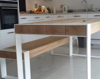 Handmade dining set - steel & timber table with benches