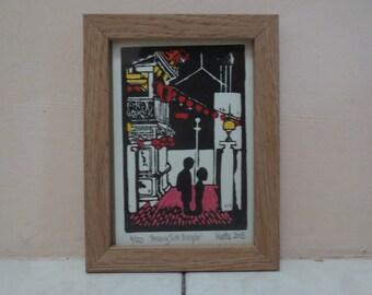 Penang Malaysia Framed Temple Linocut Print 4x6