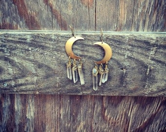 Moon Earrings with crystal Quartz boho chic jewelry art of goddess