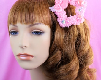 MADE TO ORDER-Pink Fuzzy Two Way Clip-Fairy Kei Accessory-Sweet Lolita Accessory-Women's Hair Clip-Pastel Hair Accessory-Wing Hair Clip-Kawa