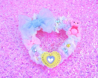 MADE TO ORDER-Multi Colored Fuzzy Two Way Clip-Sweet Lolita Hair Accessory-Fairy Kei Hair Accessory-Pastel Accessory