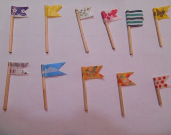 Set of 13 Cupcake Topper Flags or Scrapbooking Embellishments/Party Decor/Party Supplies/Cake Toppers and Picks