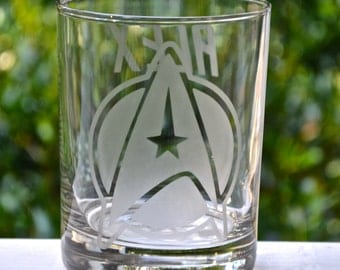 Star Trek Inspired Etched Glasses, Next Generation, Voyager, Original Movies Etched Insignias, Star Trek Logo Rocks Glass