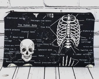 Glow in the Dark Skeleton Pencil Case, Skull Pencil Bag