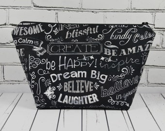Chalkboard Word Art Makeup Bag, Chalk Words Make Up Bag. Zipper Pouch, Inspirational Quotes.