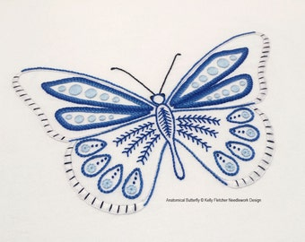 Anatomical Butterfly modern hand embroidery pattern - modern embroidery PDF pattern, digital download