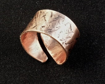 Hammered copper ring, cross-hatch copper jewelry