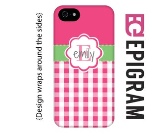 Hot pink gingham personalized iPhone 6 case, iPhone 6 plus case, custom iPhone 5c case, personalized iPhone 4s phone cases, iPhone 5s case