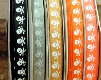 """2 Yards 3/8"""" US Designer White Skulls Print on Various Colors of Grosgrain Ribbon"""