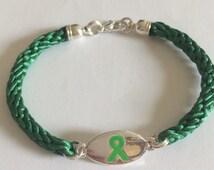 Handwoven Awareness Bracelet - Green Tag Charm