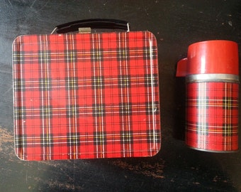Red and Black Plaid Lunchbox and Thermos