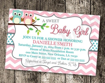 Sweet Baby Girl Baby Owl Shower Invitation