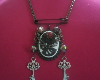 Lady Skull Cameo Necklace