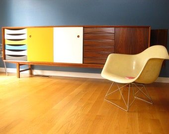 Mid century modern Rosewood Credenza Cabinet - FREE SHIPPING - 90 inch long - Dresser Sideboard - Can be made in teak, too