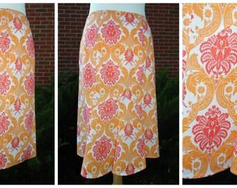 Tangerine Pattern Pencil Skirt w/Flounce/1 medium