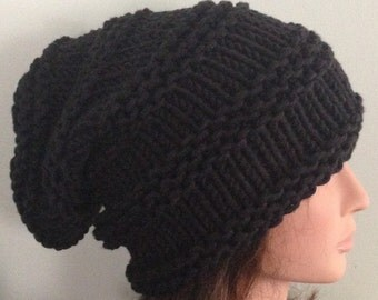 Chunky shouch hat in black