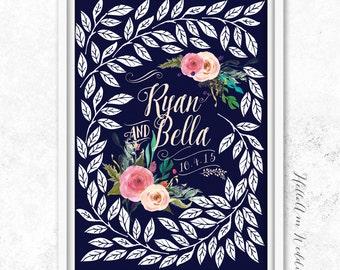 Wedding Guest Book - Wedding Guestbook - Custom Guest Book alternative - Personalized Guestbook alternative - Rustic Bohemian Floral -Poster
