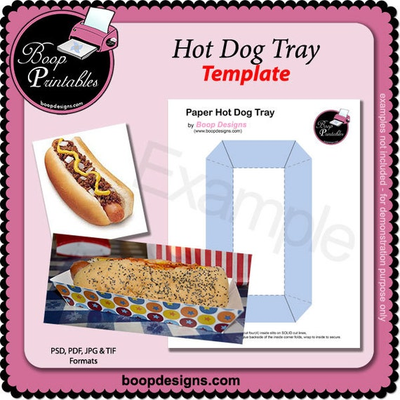 Hot dog food tray template by boop printables for Paper food tray template